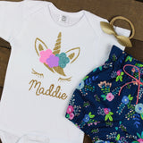 Custom Flower Unicorn Navy Floral Bloomer Outfit