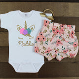 Custom Flower Unicorn Pink Floral Bloomer Outfit