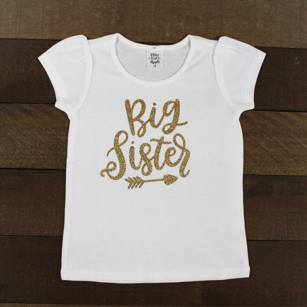 Gold Big Sister White Shirt