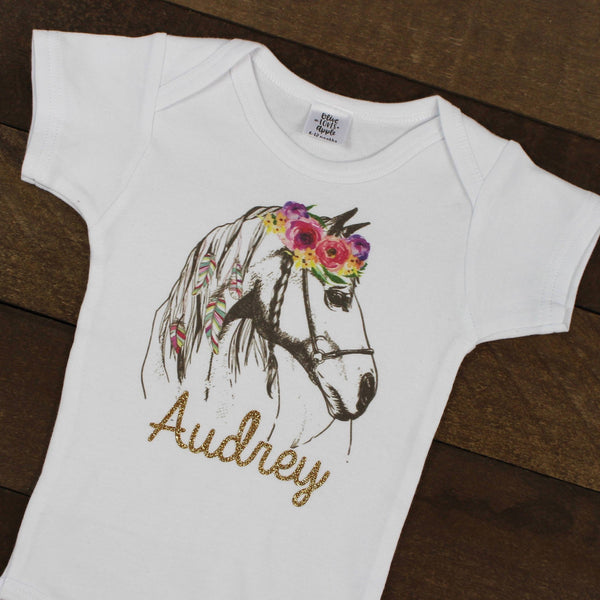 Custom Flower Horse White Bodysuit
