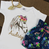 Custom Flower Horse Navy Floral Bloomers Outfit