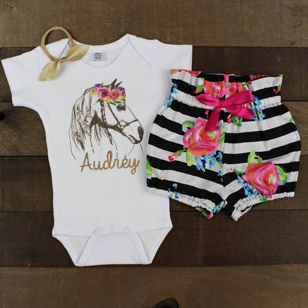 Custom Flower Horse Striped Bloomers Outfit
