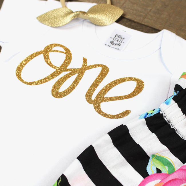 Gold One Striped Bloomer Outfit