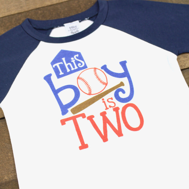 This Boy is Two Baseball Navy Blue Raglan Shirt