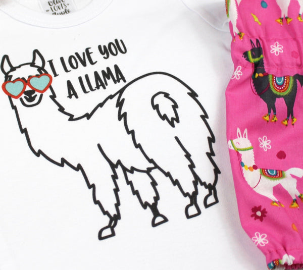 I Love You A Llama Pink Llama Bloomer Outfit