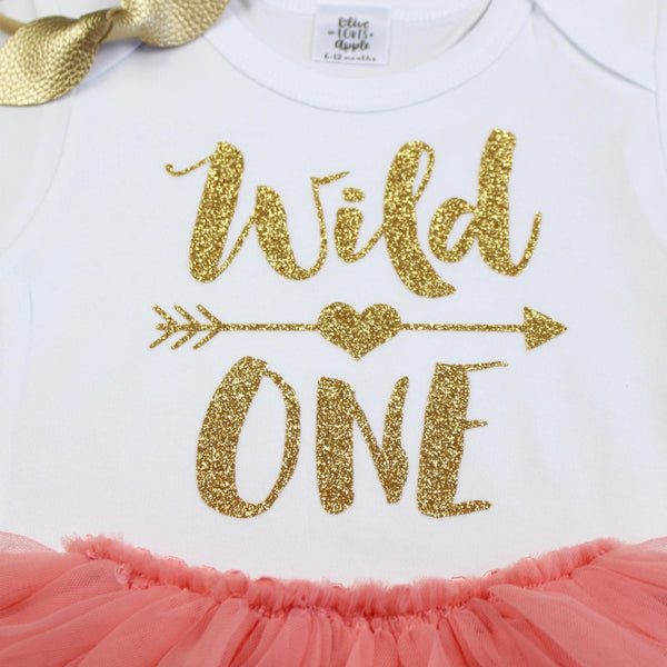 Gold Wild One Peach Tutu Outfit