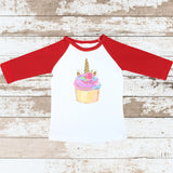 Cupcake Unicorn Red Raglan Shirt