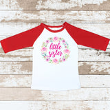 Pink Little Sister Wreath Red Raglan Shirt