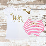 Gold Two Pink Shorts Outfit