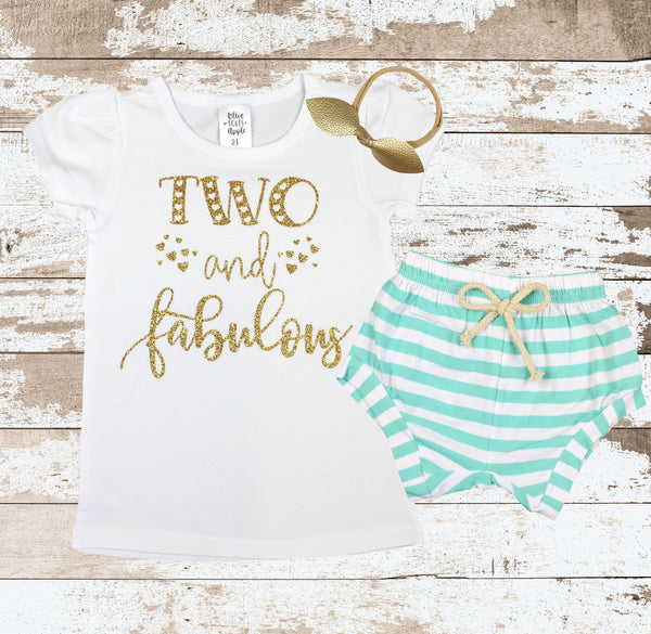 Gold Two and Fabulous Shirt Mint Shorts Outfit