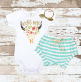 Gold Wild One Bull Skull Mint Shorts Outfit