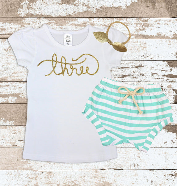 Gold Three Mint Shorts Outfit