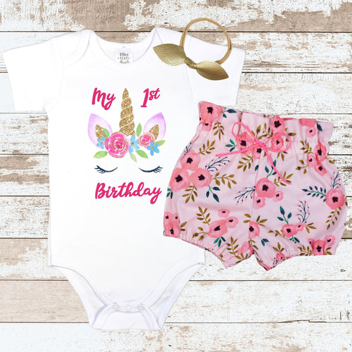 Unicorn Birthday Face Pink Floral Bloomer Outfit