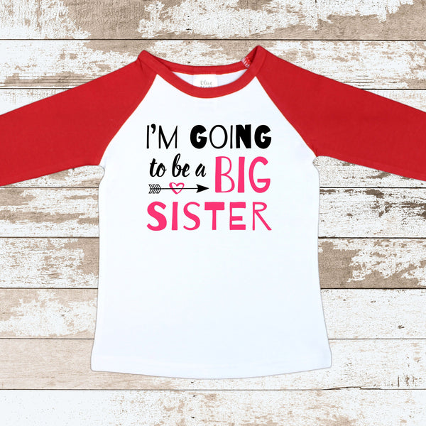 Im Going To Be A Big Sister Red Raglan Shirt