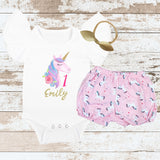 Custom Unicorn Flutter Pink Unicorn Bloomer Outfit