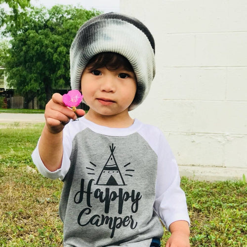 Happy Camper Gray Raglan Shirt