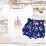 Cupcake Unicorn Navy Floral Bloomers Outfit