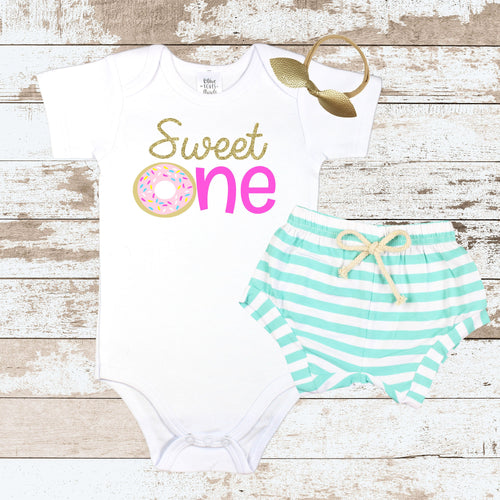 Sweet One Pink Donut Mint Shorts Outfit