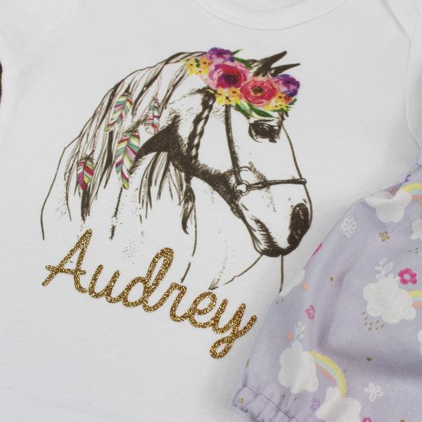Custom Flower Horse Purple Rainbow Bloomer Outfit