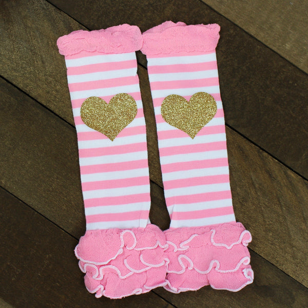 Pink and White Striped Leg Warmers