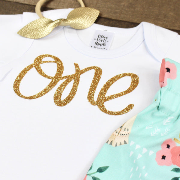 Gold One Teepee Bloomer Outfit