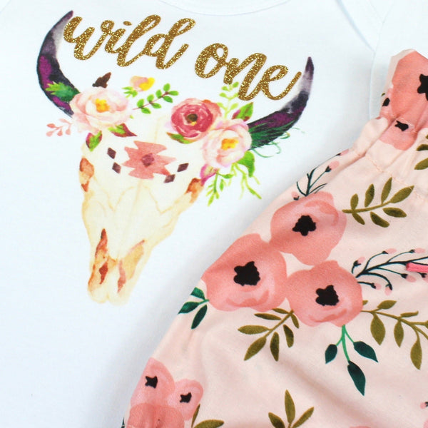Gold Wild One Pink Floral Bloomers Outfit