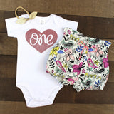 Rose Gold One Floral Bloomers Outfit