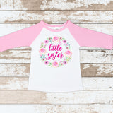 Pink Little Sister Wreath Pink Raglan Shirt