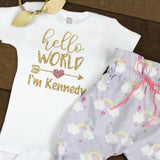Custom Gold Hello World Newborn Outfit