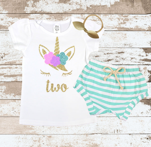 Gold Two Unicorn Face Mint Shorts Outfit