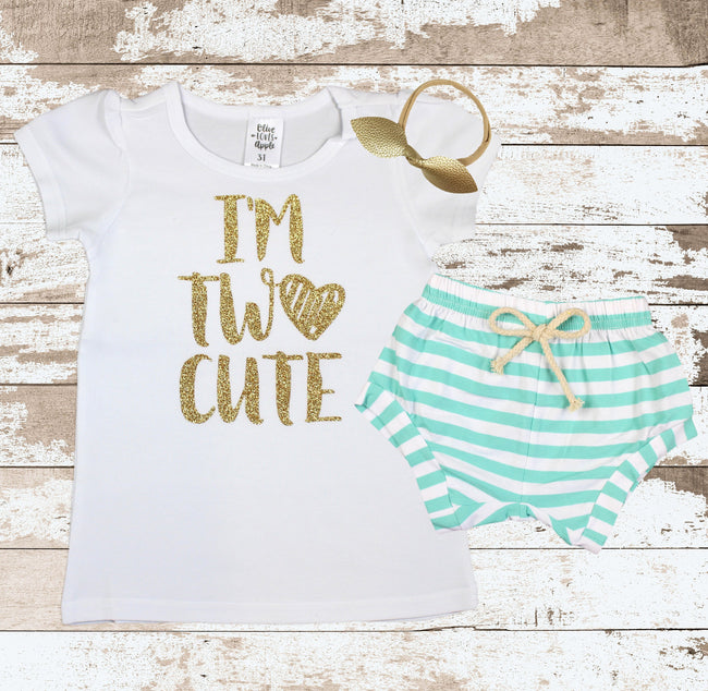 Gold I'm Two Cute Mint Shorts Outfit