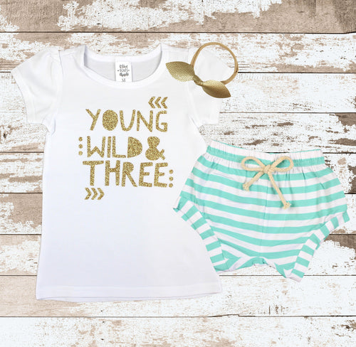 Gold Young Wild and Three Mint Shorts Outfit