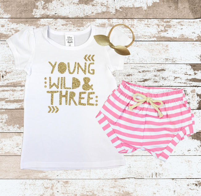 Gold Young Wild and Three Pink Shorts Outfit