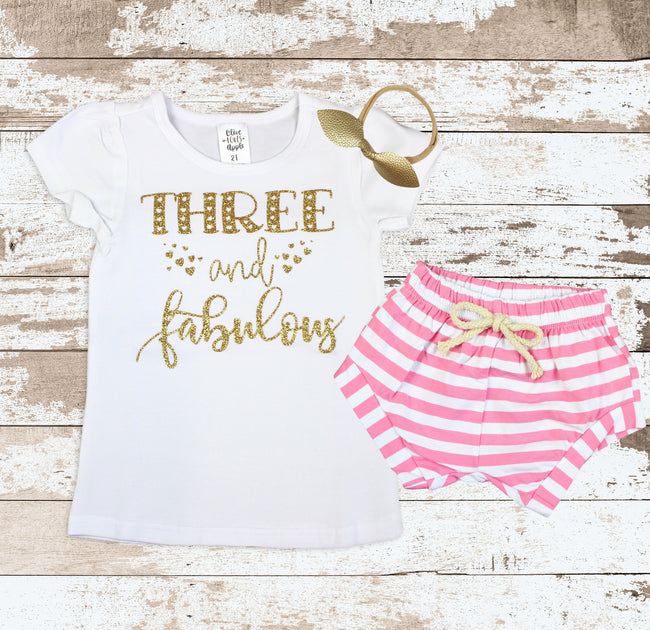 Gold Three and Fabulous Pink Shorts Outfit