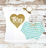 Gold Three in Heart Mint Shorts Outfit
