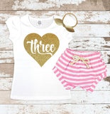 Gold Three in Heart Pink Shorts Outfit