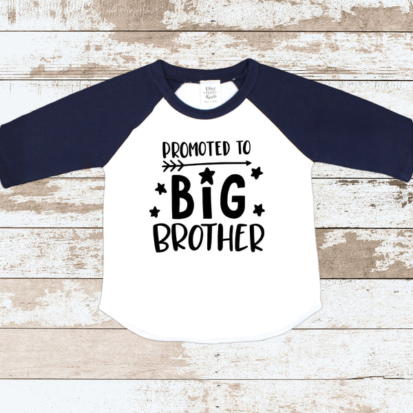Promoted To Big Brother Navy Blue Raglan Shirt