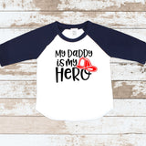 My Daddy Is My Hero Fireman Navy Blue Raglan Shirt
