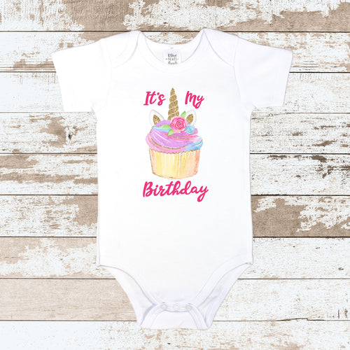 Unicorn Birthday Cupcake White Bodysuit