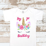 Unicorn Birthday Face White Bodysuit
