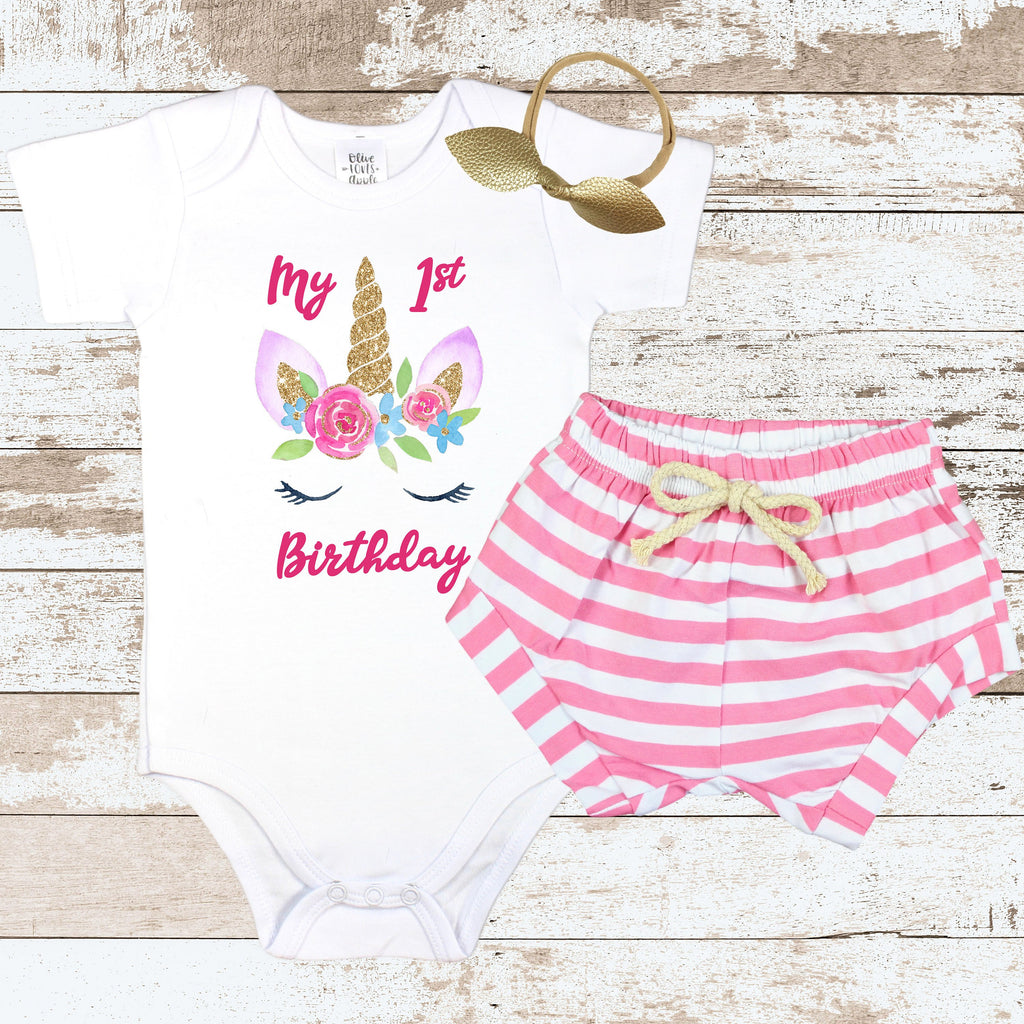 3e50715a Unicorn Birthday Face Pink Shorts Outfit – Olive Loves Apple