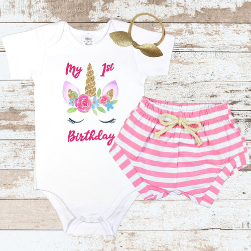 Unicorn Birthday Face Pink Shorts Outfit