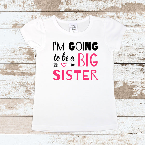 4beeec0e I'm Going To Be A Big Sister White T Shirt – Olive Loves Apple