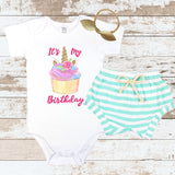 Cupcake Unicorn Mint Shorts Outfit