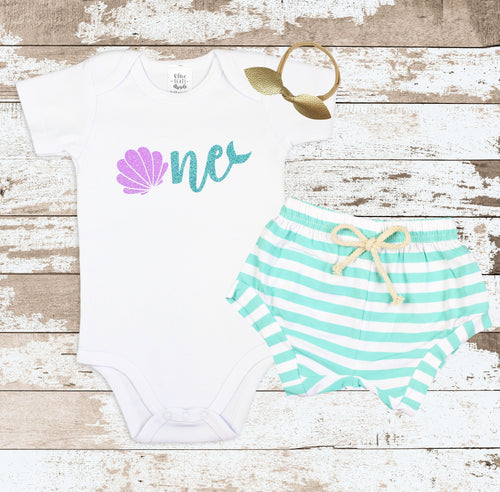 Sea Shell Mermaid One Mint Shorts Outfit