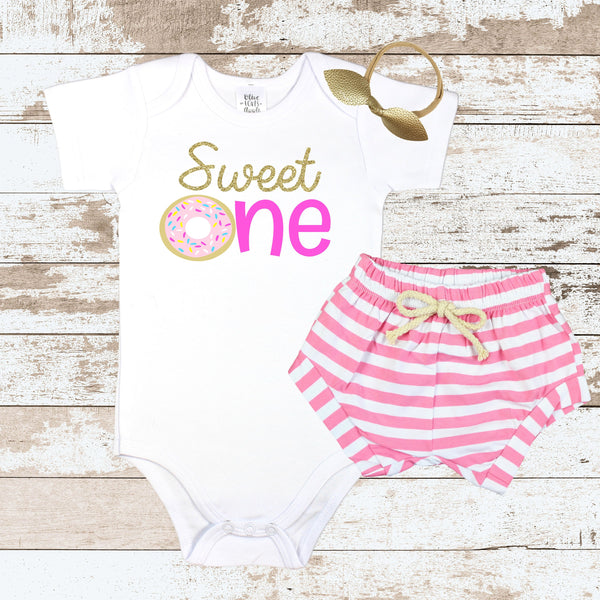 Sweet One Pink Donut Pink Shorts Outfit