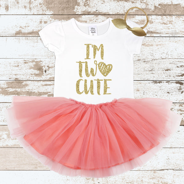 b6f88c07 Gold I'm Two Cute Peach Tutu Outfit – Olive Loves Apple
