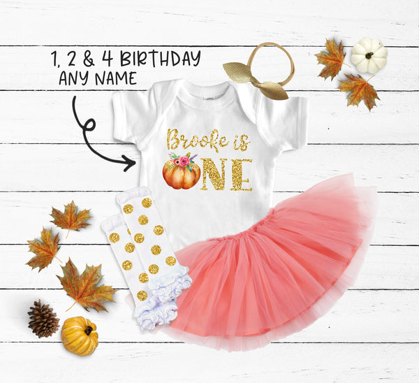 Custom Birthday Pumpkin Peach Tutu Outfit
