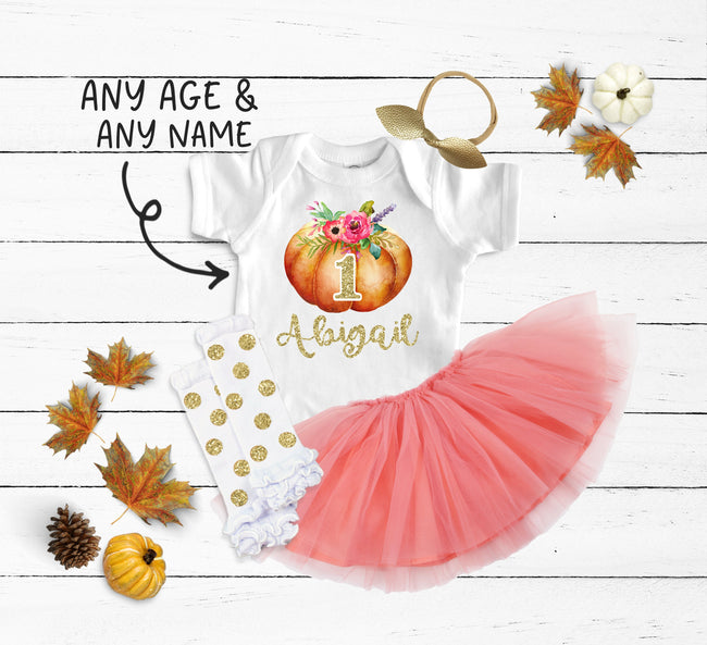 Custom Birthday Pumpkin Any Age Any Name Peach Tutu Outfit