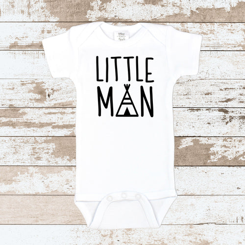 Little Man White Bodysuit